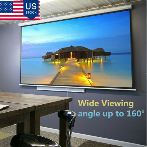 "100"" 160° 16:9Manual Pull Down Retractable Projector Screen Home Theater Movie"