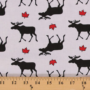 Cotton Canada Moose Canadian Maple Leaf Leaves White Cotton Fabric Print D503.16
