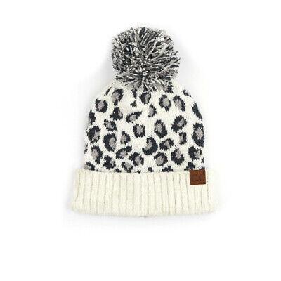 CC C.C Beanie Leopard Animal Print Ivory Knit Pom Skully Hat Stocking Cap Ivory Knit Hat