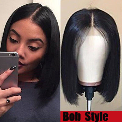100% Human Hair Wig Bob Style Lace Front Wig Pre Plucked Natural Black Women Black Hair Style Wigs