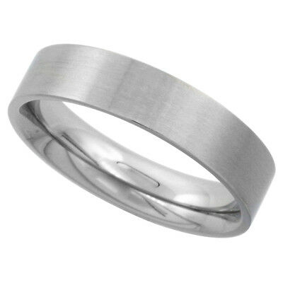 5mm Stainless Steel Comfort Fit Satin Finish Flat Wedding Band / Thumb - 5mm Flat Band Ring