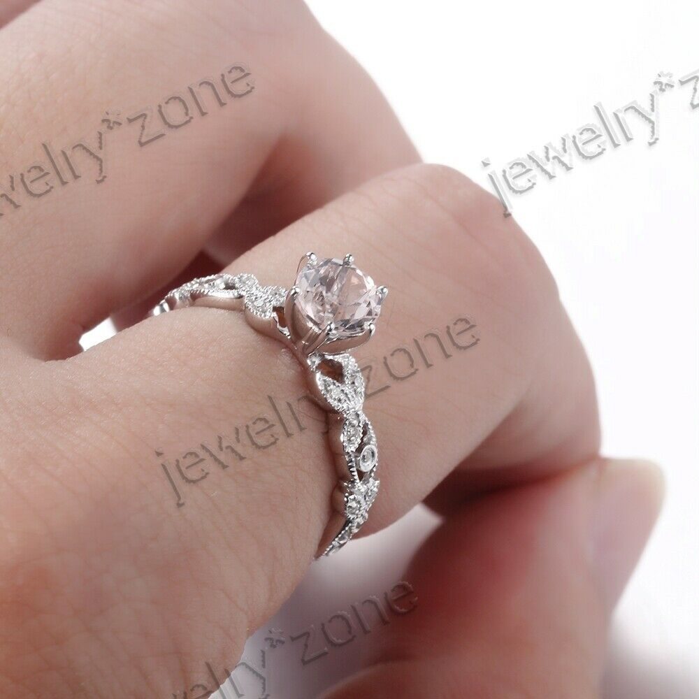 Sale Antique Style Morganite Diamond Engagement Party Fine Ring 18K ...