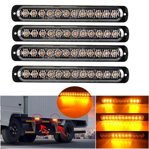 4x Amber 12-LED Car Truck Emergency Beacon Warning Hazard St