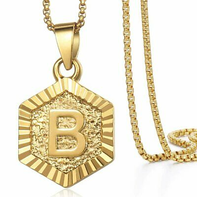 Hexagon Gold Filled Initial Letter A to Z Pendant Necklace Women Men 18