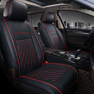 Universal PU Leather Car Seat Covers Cushions Front Stitching Black with Red Zen