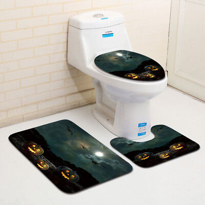 Halloween Toilet (Halloween Pumpkin Light Toilet Seat Cover and Rug Bathroom Set Halloween)