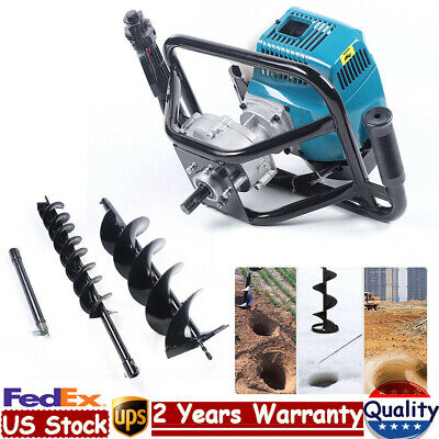 52cc Gas Powered Post Hole Digger Earth Auger Borer Fence Ground48 Drill Bit