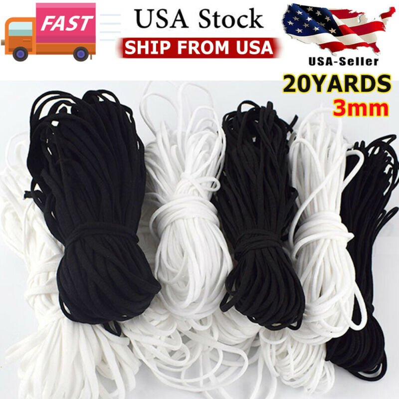 U.S 10-20 Yards 3mm Round Soft Elastic Band Cord Ear Hanging Sewing Crafts DIY