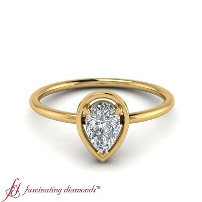 3/4 Carat Pear Shape Diamond Solitaire 18K Yellow Gold Engagement Ring For Women