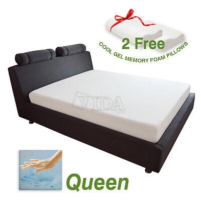"""10"""" inch Queen Size Cool Gel Medium Memory Foam 2 Free Pillows & Mattress Cover"""