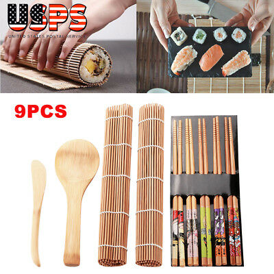 DIY Bamboo Sushi Making Kit 2 Rolling Mats 5 Pairs Chopsticks Rice Spreader Set