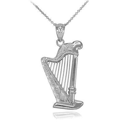 - Sterling Silver Music Modern Pedal Harp Harmonic Organ Strings Pendant Necklace