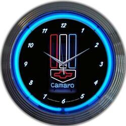 Gm Camaro Red, White & Blue Neon Clock 15x15 8CAMRWB