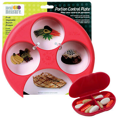 (Meal Measure 1 Portion Control Plate (Red) and 4 Compartment Red Pocket Pill Box)