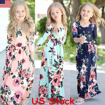 Kids Fashion Girls Long Sleeve Dresses Floral Maxi Dress Outfit Holiday Party US - Spring Dresses Girls