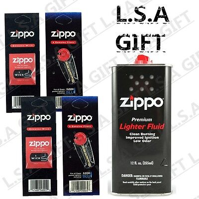 Zippo 12 oz Can Fuel Fluid and 12 Flints & 2 Wick Value Pack Combo