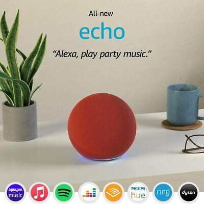 Amazon Echo 4th Gen Smart Speaker With Alexa- Red + SMART PLUG...