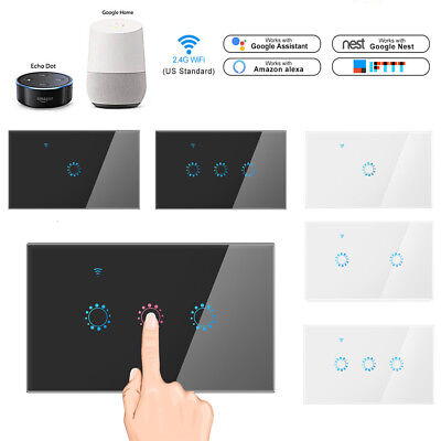 - 1/2/3 Gang Smart Home WiFi Touch Light Wall Switch Panel For Alexa / Google APP