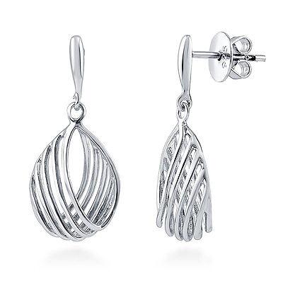 BERRICLE Sterling Silver Woven Fashion Dangle Drop Earrings