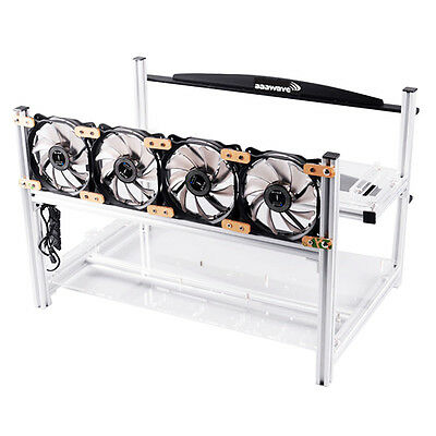 AAAwave 6 GPU Open Air Frame Mining Rig Case Bitcoin + 4 Arctic F12 Silent Fans