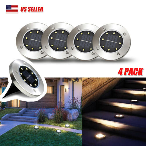 8 LED Solar Disk Lights Ground Buried Garden Lawn Deck Path