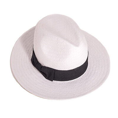 Unisex Crushable White Straw Fedora Panama Hat with Black Band - 4 Sizes