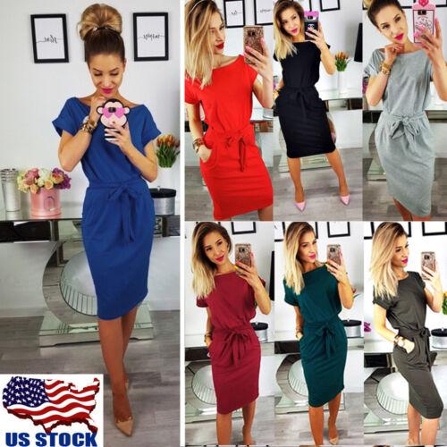 Sexy Women Casual Pocket Midi Dress Short Sleeve Bodycon Eve