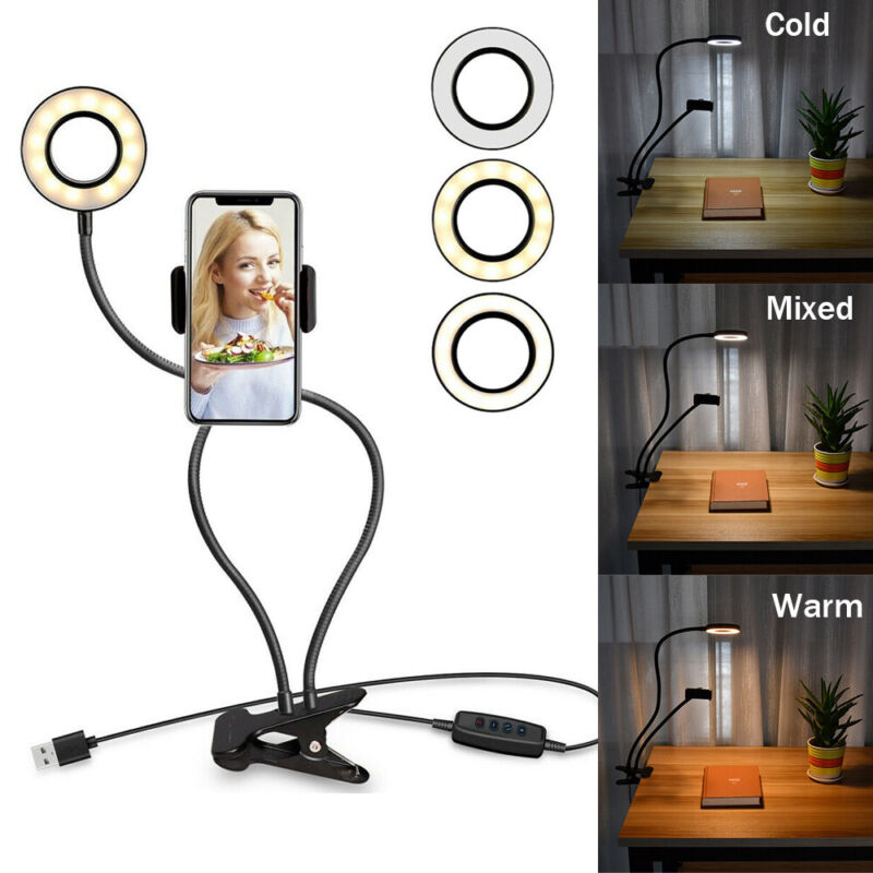 LED Selfie Ring Lights with Cell Phone Holder Flexible Stand Live Stream Lamp US