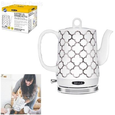 Bella Electric Ceramic Kettle, White & Silver - Tea Pot Teapot Handle 1.2L, New