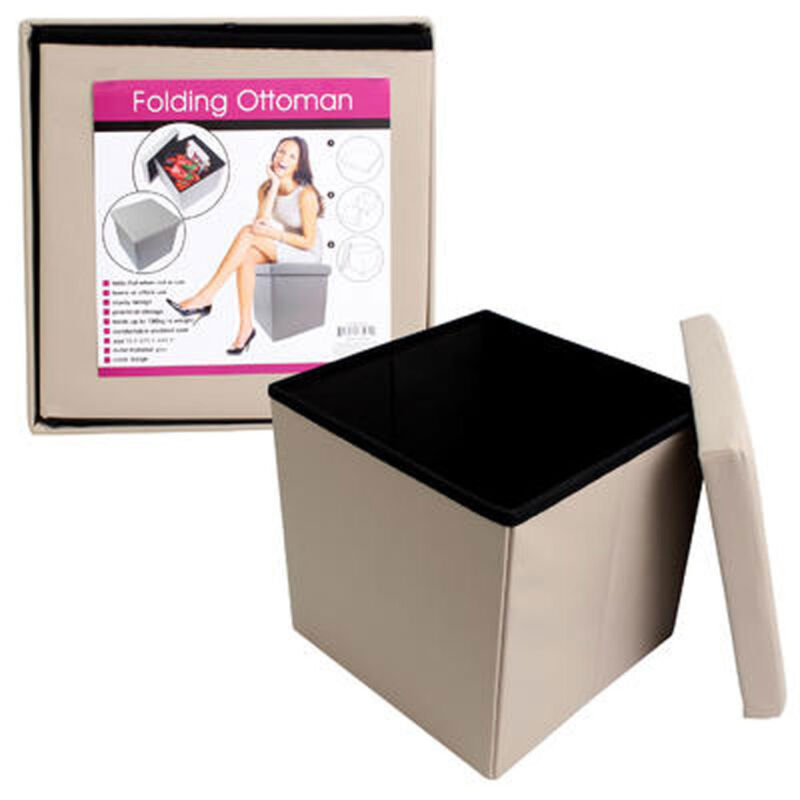 Home Office Portable Storage Ottoman Box Seat Footstool Footrest Beige NEW