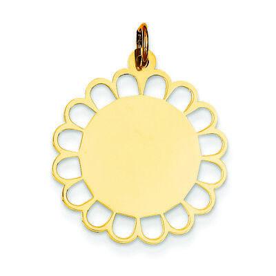 (14K Yellow Gold .011 Gauge Engravable Flower Disc Charm Pendant MSRP $240)