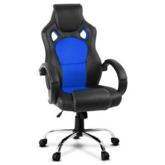 Leather Racing Office Chair - Blue
