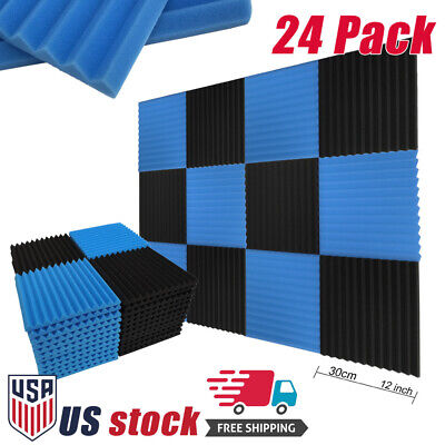 "24 Pack Acoustic Foam Panel Wedge Studio Soundproofing Foam Tiles 12"" Blue Black"