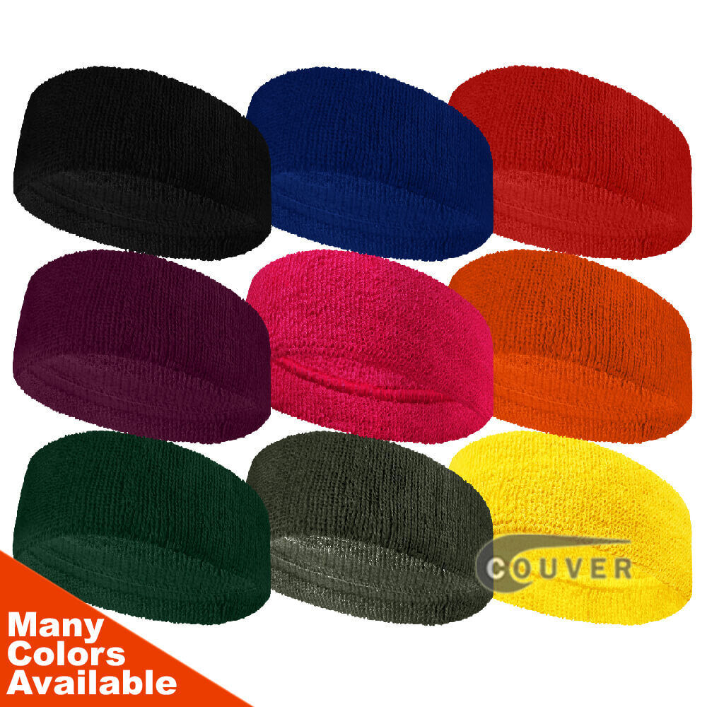 Couver 3 inch Wide Headband / Sweatband Terry Cloth for Fash