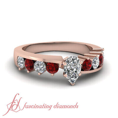 1.70 Ct Ruby & Pear Shaped Diamond Engagement Rings For Her in 14K Rose Gold GIA