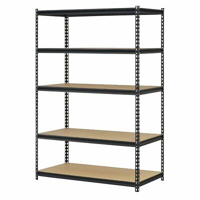 Edsal 6 Feet Tall Black Steel Storage Rack 5 Adjustable Shelves 4000 Lb. Cap.
