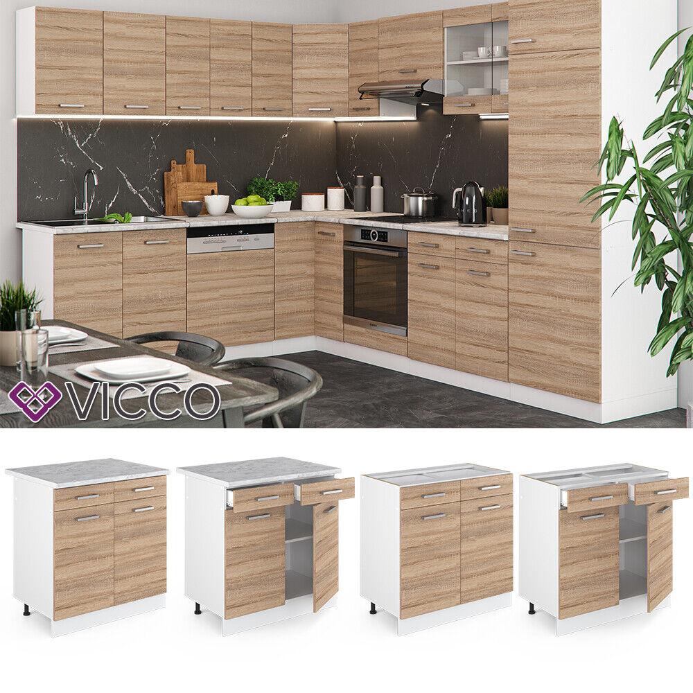 VICCO Küchenschrank Hängeschrank Unterschrank Küchenzeile R-Line Schubunterschrank 80 cm sonoma
