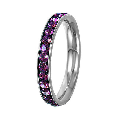Stainless Steel Eternity Amethyst Crystal February Birthstone Stackable Ring 3MM - Birthstone Ring