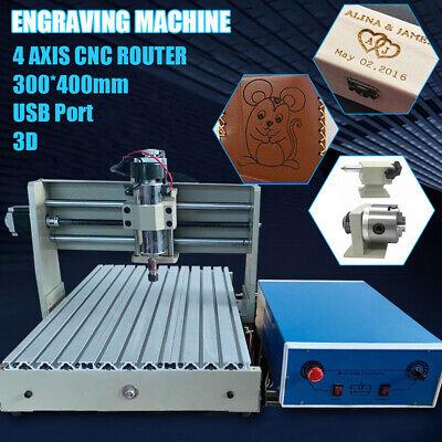 Cnc 3040 Router Engraver 4 Axis 400w Usb Desktop Woodworking Machine Remote