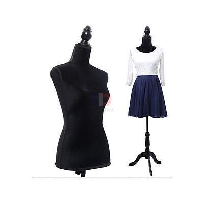 New Black Female Mannequin Torso Clothing Display W/ Black Tripod Stand
