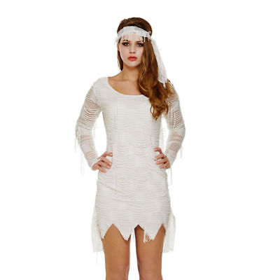 Halloween Fancy Dress Costume Costume Womens Sexy Mummy White Bandage Size 12-14