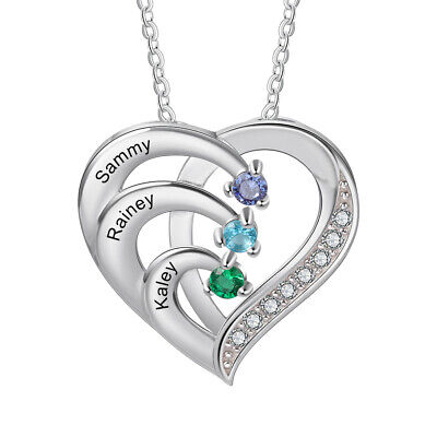 Customs For Women (925 Silver Custom Names Women Necklace Birthstone Pendant Chain Mothers Day)