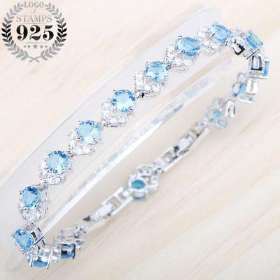Blau Kubiczirconia Tennis Armbänder Silber Weihnachten Geschenke für Sie