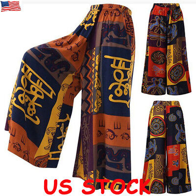 Women Baggy Harem Pants Boho Hippie Wide Leg Gypsy Yoga Palazzo Casual Trousers - Hippie Woman