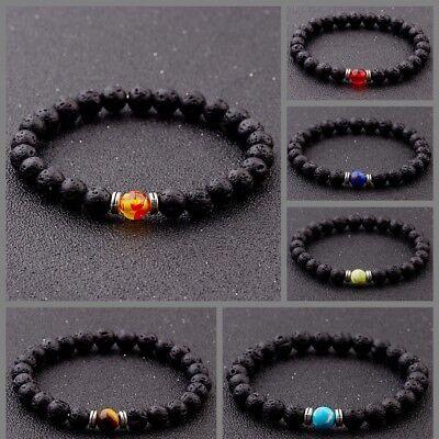 Chakra Bracelet Natural Lava Stone Healing Balance Reiki Beads Men Bracelet Gift Chakra Healing Stone Bracelet