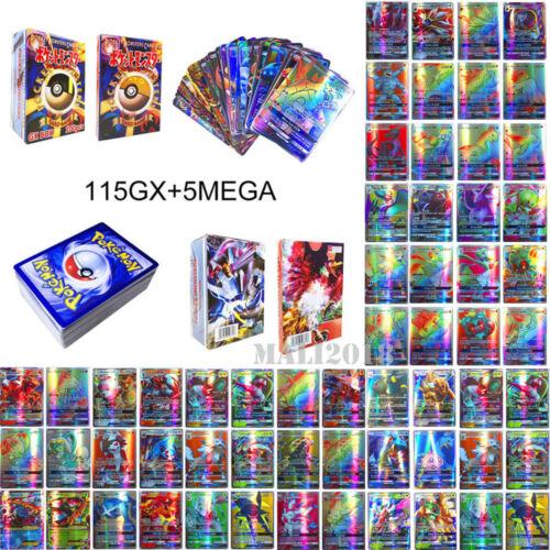 120Pcs 115 GX 5 MEGA Set Pokemon Cards Trading Flash Card Mixed Card Lots Gift