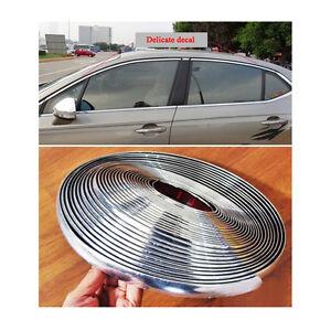 15mm / 39ft Auto Car Bright Silver Chrome Moulding Trim Bumper Strip Adhesive