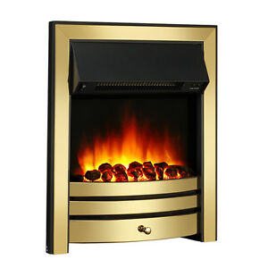 Roxby Inset Electric Fire Brass Trim And Fret 220 240Vac