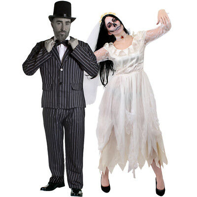 COUPLES WHITE CORPSE BRIDE AND GROOM HALLOWEEN FANCY DRESS COSTUME STRIPED SUIT](Corpse Bride And Groom Halloween Costumes)