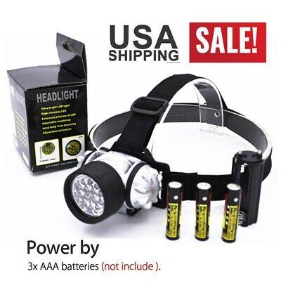 14 LED Headlamp 4Mode Headlight AAA Camping Lightweight 90°Adjustable Head Torch 14 Led Headlamp